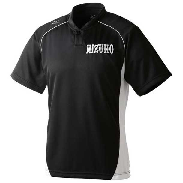ミズノ MIZUNO 12jc6l1209 野球ウエア ハーフボタン/小衿タイプ ジュニア 09ブラック×ホワイト 野球 ウエア ベースボールシャツ