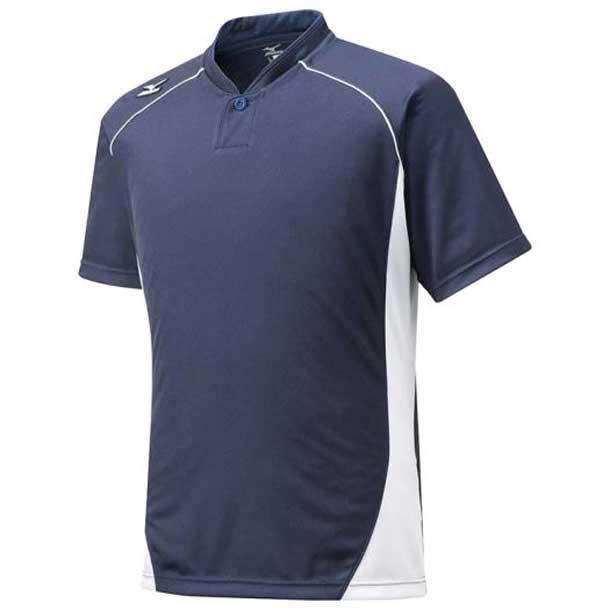 ミズノ 野球ウエア MIZUNO 12jc6l1274 ハーフボタン/小衿タイプ ジュニア 74ネイビー×ホワイト 野球 ウエア ベースボールシャツ
