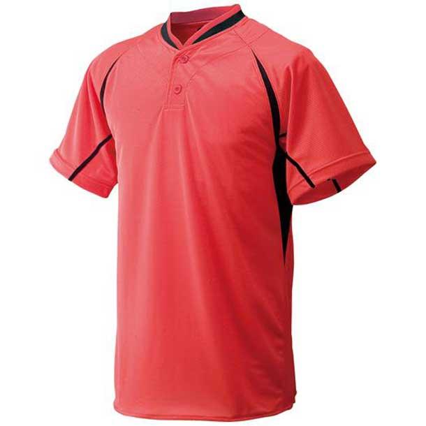 マルチベースボールシャツ(ハーフボタン/小衿タイプ/ジュニア) (00レッド×ブラック×ブラック) 【MIZUNO】ミズノ 野球 ウエア ベースボールシャツ (52LJ26200)